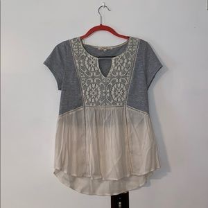 Grey Shirt with White Lace || Size: M